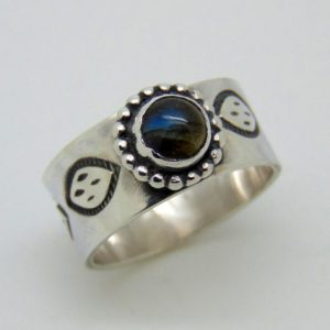 Sterling Silver Labradorite Ring – Blue Stone Jewellery – Hallmarked Silver – Hand Stamped Jewellery – Us Size 8 3/4 – Uk Size R