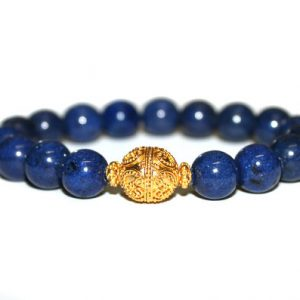 Blue Lapis Lazuli And 22 Karat Gold Vermeil Bali Beads Bracelet, 10mm Lapis Lazuli And Gold Vermeil Stretch Bracelet