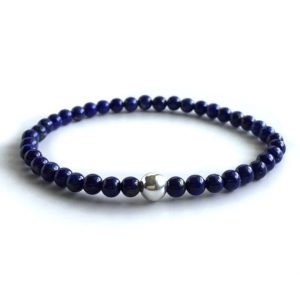 Genuine Lapis Lazuli Bracelet, Sterling Silver Boho Chic Jewelry, Royal Blue Stretch Bracelet, Gemstone Bead Stretchy Bracelet