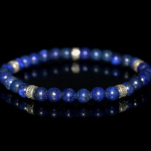 Men's Bracelet, For Men, Lapis Lazuli And Sterling Silver Bracelet, Man's Bracelet, Bracelet Fr Man, Beaded Bracelet, Bead Bracelet Man