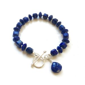 Lapis Bracelet – Navy Blue Jewelry – Sterling Silver Jewellery – Gemstone – Beaded – Lapis Lazuli | Natural genuine Gemstone bracelets. Buy crystal jewelry, handmade handcrafted artisan jewelry for women.  Unique handmade gift ideas. #jewelry #beadedbracelets #beadedjewelry #gift #shopping #handmadejewelry #fashion #style #product #bracelets #affiliate #ad