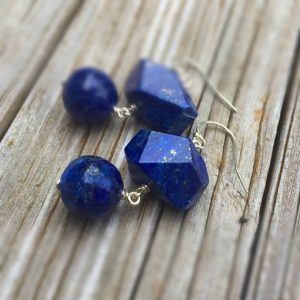 Shop Lapis Lazuli Earrings! Navy Blue Lapis Earrings – Lapis Jewelry – Sterling Silver Jewelry – Gemstone Jewellery – Denim – Dangle – Fashion | Natural genuine Lapis Lazuli earrings. Buy crystal jewelry, handmade handcrafted artisan jewelry for women.  Unique handmade gift ideas. #jewelry #beadedearrings #beadedjewelry #gift #shopping #handmadejewelry #fashion #style #product #earrings #affiliate #ad