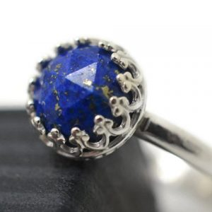 Lapis Lazuli Ring With Engraving Sterling Silver Bezel, Natural Royal Blue Gemstone, Personalized Women's Engagement Jewelry