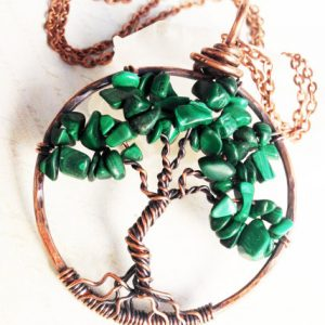 Shop Malachite Necklaces! Malachite Tree of Life Pendant Necklace Copper Wire Wrapped green gemstone statement talisman amulet birthsday mother's day gift for her | Natural genuine Malachite necklaces. Buy crystal jewelry, handmade handcrafted artisan jewelry for women.  Unique handmade gift ideas. #jewelry #beadednecklaces #beadedjewelry #gift #shopping #handmadejewelry #fashion #style #product #necklaces #affiliate #ad