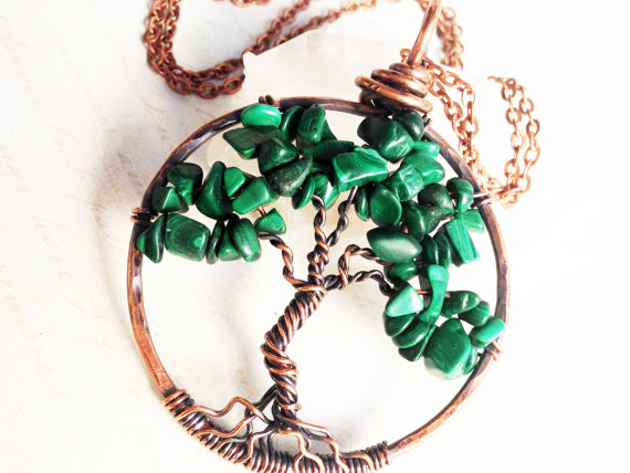 Malachite Tree Of Life Pendant Necklace Copper Wire Wrapped Green Gemstone Statement Talisman Amulet Birthsday Mother's Day Gift For Her