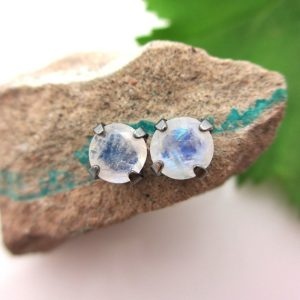 Shop Moonstone Earrings! Black Silver Blue Moonstone Stud Earrings, 6mm | Natural genuine Moonstone earrings. Buy crystal jewelry, handmade handcrafted artisan jewelry for women.  Unique handmade gift ideas. #jewelry #beadedearrings #beadedjewelry #gift #shopping #handmadejewelry #fashion #style #product #earrings #affiliate #ad