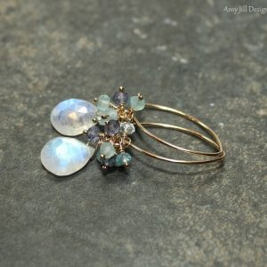 Shop Moonstone Earrings! Rainbow Moonstone Earrings, Cluster Earrings, Blue Flash, Moonstone Jewelry, Gold Filled, Gemstone Earrings | Natural genuine Moonstone earrings. Buy crystal jewelry, handmade handcrafted artisan jewelry for women.  Unique handmade gift ideas. #jewelry #beadedearrings #beadedjewelry #gift #shopping #handmadejewelry #fashion #style #product #earrings #affiliate #ad