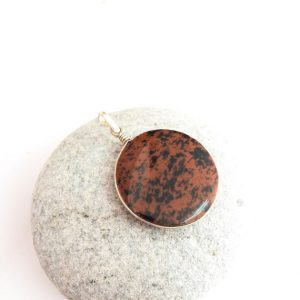 Red Obsidian Pendant, Sterling Silver Pendant, Red Obsidian Jewelry, Round Stone Pendant, Natural Stone, Men's Pendant, Red And Black, Gift