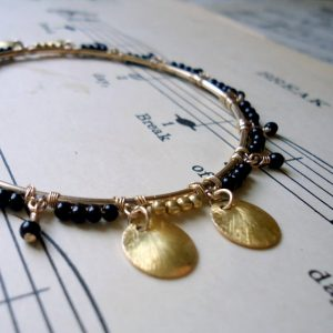 Gold Bangle Bracelet Black Jewelry 14k Gold Filled Jewellery Onyx Gemstones Wire Wrapped Unique B-29