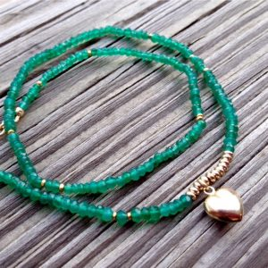 Green Onyx Bracelet – Gold Jewellery – Gemstone – Heart Charm – Wrap Jewelry