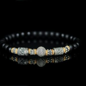 Men's Bracelet, For Men, Men's Black Onyx, Sterling Silver And Gold Vermeil Bracelet, Men's Bead Bracelet, Bracelets For Men, For Man