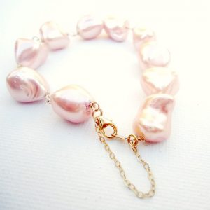 Shop Pearl Bracelets! Peach Pearl Bracelet Gold Jewelry Bridesmaid Jewellery Gifts Unique Handmade Gemstone Wedding Prom Bride Safety Chain B-142 | Natural genuine Pearl bracelets. Buy handcrafted artisan wedding jewelry.  Unique handmade bridal jewelry gift ideas. #jewelry #beadedbracelets #gift #crystaljewelry #shopping #handmadejewelry #wedding #bridal #bracelets #affiliate #ad