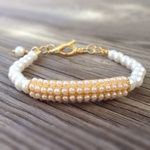 White Bracelet – Wedding Bracelet – Pearl Jewelry – Yellow Gold Jewelry – Beaded Jewellery – Bride – Fashion