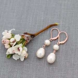 Drop Earrings, Rose Gold Pearl Dangles, Bridesmaid, Bridal Jewelry, Dainty Rose Gold Drops | Natural genuine Gemstone earrings. Buy handcrafted artisan wedding jewelry.  Unique handmade bridal jewelry gift ideas. #jewelry #beadedearrings #gift #crystaljewelry #shopping #handmadejewelry #wedding #bridal #earrings #affiliate #ad