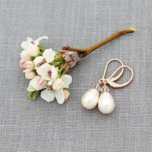 Rose Gold Drop Earrings, Pearl Jewelry, Petite Pearl & Crystal Wedding Earrings, Dainty Rose Gold Earrings | Natural genuine Gemstone earrings. Buy handcrafted artisan wedding jewelry.  Unique handmade bridal jewelry gift ideas. #jewelry #beadedearrings #gift #crystaljewelry #shopping #handmadejewelry #wedding #bridal #earrings #affiliate #ad