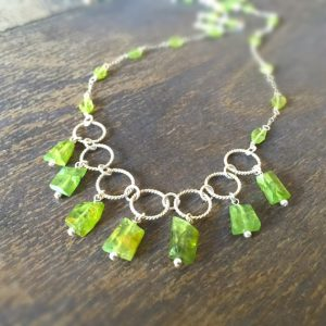 Peridot Necklace – Green Gemstone Jewellery – August Birthstone – Sterling Silver Jewelry – Luxe – Fashion