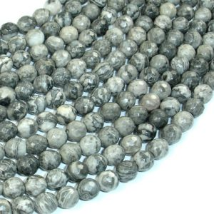 Shop Picture Jasper Faceted Beads! Gray Picture Jasper Beads, 6 mm Faceted Round Beads, 15 Inch, Full strand, Approx 61 beads, Hole 1 mm, A quality (141025001) | Natural genuine faceted Picture Jasper beads for beading and jewelry making.  #jewelry #beads #beadedjewelry #diyjewelry #jewelrymaking #beadstore #beading #affiliate #ad