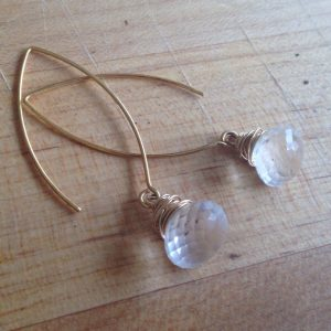 Shop Quartz Crystal Earrings! Crystal Quartz Earrings – Crystal Jewelry – Gold Jewelry – Vermeil Jewellery – Gemstone – Teardrop – Briolette – Wedding | Natural genuine Quartz earrings. Buy handcrafted artisan wedding jewelry.  Unique handmade bridal jewelry gift ideas. #jewelry #beadedearrings #gift #crystaljewelry #shopping #handmadejewelry #wedding #bridal #earrings #affiliate #ad