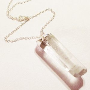 Clear Crystal Quartz Necklace – Sterling Silver Jewelry – Gemstone Jewellery – Spike – Chain – Point