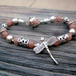 Pink Bracelet – Rhodochrosite Jewelry – Dragonfly Charm – Natural Gemstone Jewellery – Sterling Silver – Unique – Filigree