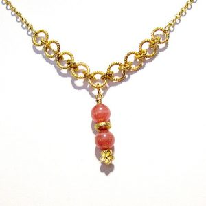 Shop Rhodochrosite Necklaces! Pink Necklace – Rhodochrosite Gemstone Jewellery – Gold Jewelry – Fancy Chain – Pendant – Drop – Classic – Unique – Flower N-18 | Natural genuine gemstone jewelry in modern, chic, boho, elegant styles. Buy crystal handmade handcrafted artisan art jewelry & accessories. #jewelry #beaded #beadedjewelry #product #gifts #shopping #style #fashion #product