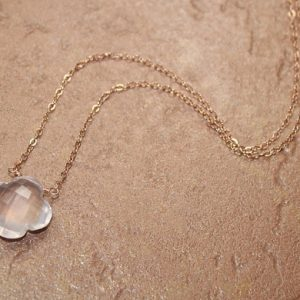 Rose Quartz Quatrefoil Necklace, Clover, Rose Gold Filled Chain, Rose Quartz Jewelry, Pink Gemstone Necklace