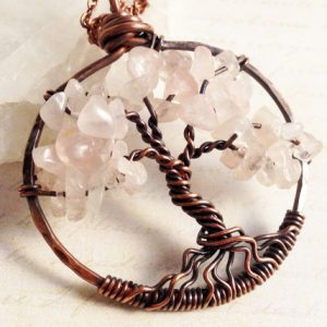 Shop Rose Quartz Necklaces! Tree of Life Pendant Necklace, Rose Quartz, Copper Wire Wrap, natural rose-pink gemstone talisman, amulet, Mother's Day gift, gift for her | Natural genuine Rose Quartz necklaces. Buy crystal jewelry, handmade handcrafted artisan jewelry for women.  Unique handmade gift ideas. #jewelry #beadednecklaces #beadedjewelry #gift #shopping #handmadejewelry #fashion #style #product #necklaces #affiliate #ad
