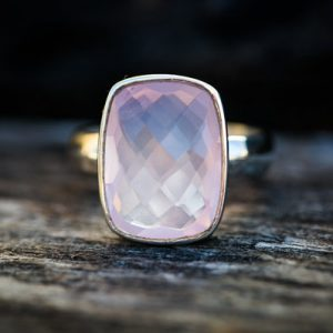 Rose Quartz Ring Size 5.5 -9.5 – Rose Quartz Ring – Checkerboard Cut Rose Quartz Ring – Rose Quartz Ring – Sterling Silver Rose Quartz Ring