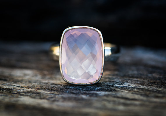 Rose Quartz Ring Size 5.5 -9.5 - Rose Quartz Ring - Checkerboard Cut Rose Quartz Ring - Rose Quartz Ring - Sterling Silver Rose Quartz Ring