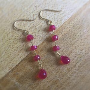 Ruby Earrings – Red Jewelry – 18k Yellow Gold – July Birthstone Jewellery – Luxe – Aaa – Couture