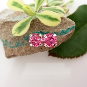 Pink Sapphire Earrings In 14k Gold Screw Backs Or Platinum Screw Backs, Hot Pink 14k White Or Yellow Gold Studs