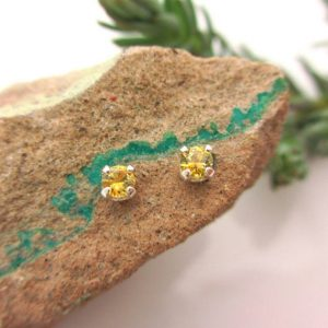 Yellow Montana Sapphire Screw Back Studs, Platinum Or 14k Gold Screw Back Earrings With White Gold Or Yellow Gold Screwbacks