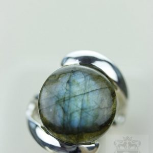 Size 4 Round Labradorite (nickel Free) 925 Fine S0lid Sterling Silver Ring & Free Worldwide Express Shipping R811