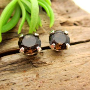 Smoky Quartz Earrings In 14k Gold Screw Backs Or Platinum Screw Backs, Dark Brown 14k White Or Yellow Gold Studs