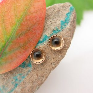 Smoky Quartz Stud Earrings, Brown Cabochon Earrings In Yellow Gold, 4mm