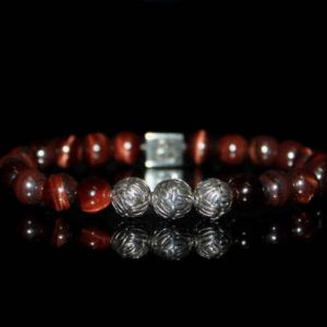 Men's Bracelet, Bead Bracelets Men, Red Tigers Eye And Sterling Silver Bracelet, Bracelet For Man, For Man, Bracelet For Men, Men