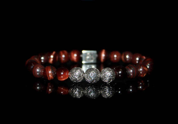 Red Tigers Eye And Sterling Silver Bracelet, Bracelet For Man, Beaded Bracelet, Bracelet For Men, Mens Bracelet, Tiger's Eye Bracelet