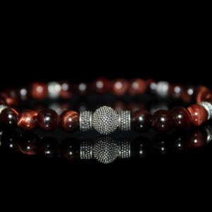 Men's Bracelet, Gift For Man, Red Tiger's Eye And Gold Vermeil Bracelet, Men's Beaded Bracelet, For Men,bracelet For Men, Man's Bracelet