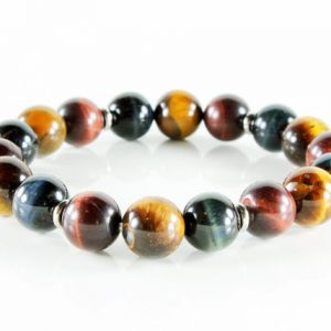 Stretch Gemstone Bracelet, Multi Stone Bracelet, Yellow, Red, Blue, Tiger Eye, Silver, Semi-precious, Natural Stones, Stackable, Gift, 3216