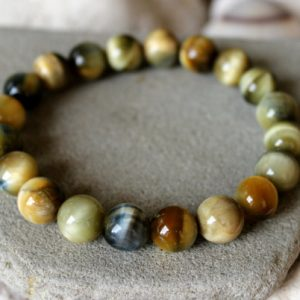 Tiger's Eye Bracelet, 10mm Tiger's Eye Bracelet, Tiger's Eye Jewelry, Tiger's Eye Mala, Wrist Mala, Chakra Bracelet, First Quality Tiger Eye