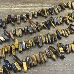 "Shop Tiger Eye Chip & Nugget Beads! Tiger Eye Chip Beads Tiny Tiger Eye Stick Spike Beads Polished Natural Tiger Stone Shard Beads Beading Supplies 10-25mm 15.5"" full strand 