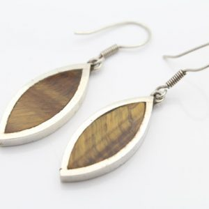 Vintage Taxco Mexico Sterling Silver And Tigers Eye Drop Earrings. [6432]