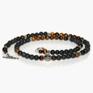 Men's Necklace, Lava Stone, Tiger's Eye, And Sterling Silver Beads Necklace, Bead Necklace Men, Tiger's Eye Necklace, Lava Stone Necklace