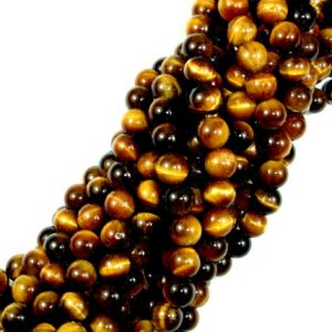 Shop Tiger Eye Round Beads! Tiger Eye, Round, 6mm(6.5mm), 15.5 Inch, Full strand, Approx 62 beads, Hole 1mm(426054002) | Natural genuine round Tiger Eye beads for beading and jewelry making.  #jewelry #beads #beadedjewelry #diyjewelry #jewelrymaking #beadstore #beading #affiliate