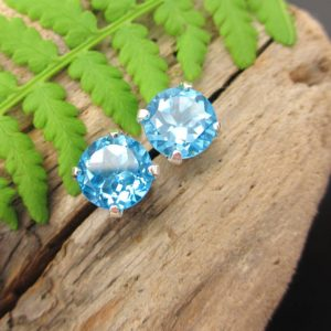 Swiss Blue Topaz Screw Back Studs, Platinum Or 14k Gold Screw Back Earrings With Blue Topaz, White Gold Or Yellow Gold Screwbacks