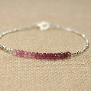 Ombre Pink Tourmaline Bracelet, Hill Tribe Silver Beads, Pink Tourmaline Jewelry, October Birthstone