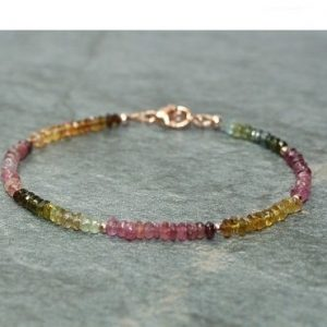 Sale Watermelon Tourmaline Bracelet, Rose Gold Beads, Watermelon Tourmaline Jewelry, Multi Color, Gemstone Jewelry