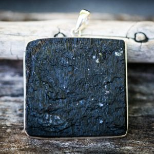 Raw Uncut Black Tourmaline Pendant – Black Tourmaline Slice Necklace –  Raw Black Tourmaline Amulet – Raw Uncut Black Tourmaline Amulet