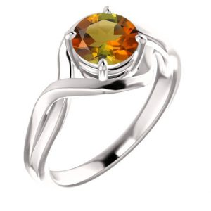 Sunset Tourmaline Ring, Genuine Round Golden Tourmaline, Solid 14k Rose, White, Or Yellow Real Gold, Solitaire Twist Band