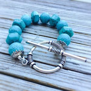 Turquoise Bracelet – Gemstone Jewelry – Sterling Silver Jewellery – Beaded – Chunky – Fashion